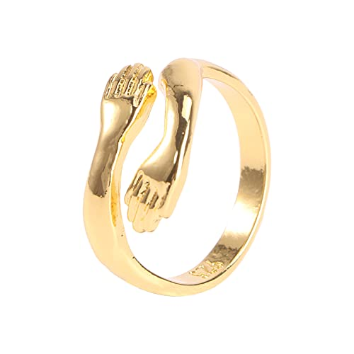 Holibanna Golden Hand Rings Hugging Hands Open Ring Hug Hands Adjustable Rings Romantic Lover Wedding Ring Jewelry