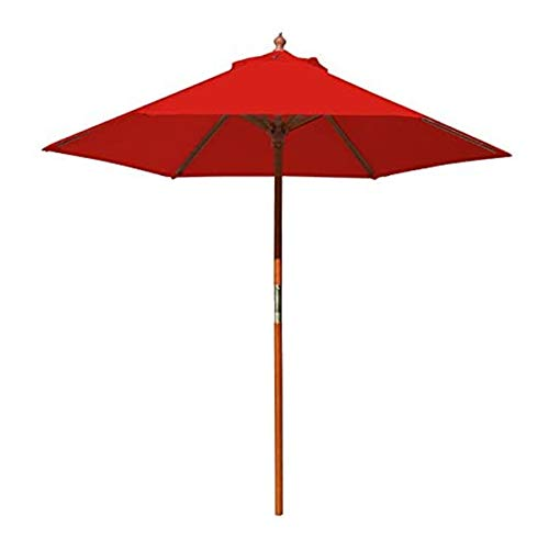 Best Pattio Umbrella 7ft, Outdoor Freestanding Market Patio Umbrella Wood Pole Round with Sturdy Ribs for Restaurant Food Table Cafe Backyard Garden Ground Lawn Deck Pool (Red)