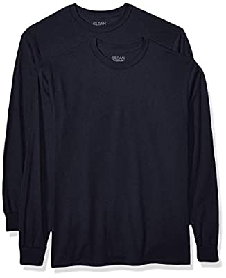 Gildan Men's DryBlend Adult Long Sleeve T-Shirt, 2-Pack, Navy, 2X-Large