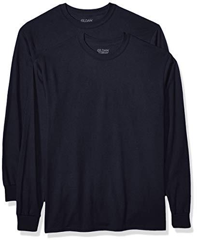 GILDAN Men's DryBlend Adult Long Sleeve T-Shirt, 2-Pack, Navy, Mediu