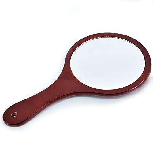 Espejo de Mano con Mango de Madera, 30 * 17 cm, Espejo de Maquillaje Hecho a Mano, Redondo, Adecuado para Maquillaje, cosméticos, Cuidado de la Piel, Ropa, Belleza, Afeitado