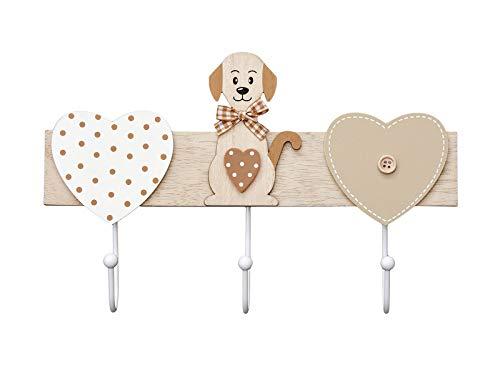 Chien avec coeur porte manteaux mural, patère en bois décoratif à 3 crochets, décoration de la maison pour la chambre cuisine vestiaire pour les amateurs de animaux marron et blanc