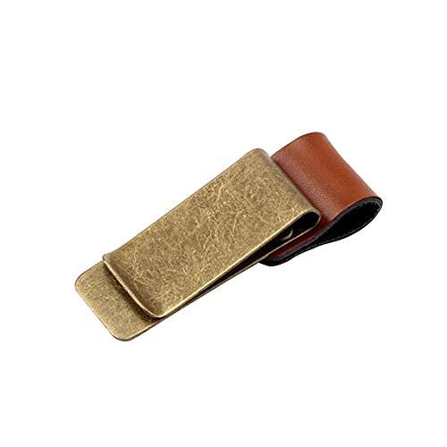 Leder Pen Clip Metallbookmark-qualität Polierte Geld-klipp-Kreditkarte Klemmhalter Mit Stiftschlaufe Coppery Brown