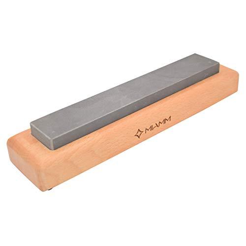 ⭐ Schleifstein Messer, Messerschärfer Schleifstein, Wasser Abziehstein auf rutschfestem Sockel aus Buchenholz - Natürlicher Schärfstein - 100% manuelle Fertigung und Veredelung - Made in France