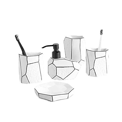 Juego de accesorios de baño Juego de accesorios de baño creativos y simples - Productos de baño de cerámica modernos Adornos de decoración del hogar Juego de mostrador de baño (Color: Blanco, Tamaño