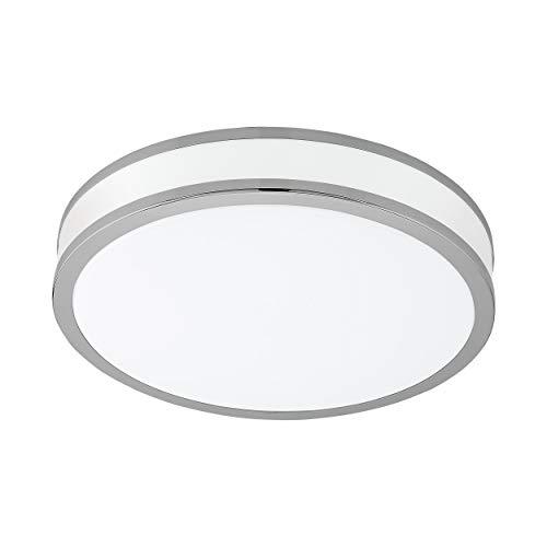 EGLO LED Deckenlampe Palermo 2, 1 flammige Deckenleuchte, Material: Stahl und Kunststoff, Farbe: chrom, weiß, Ø: 28 cm