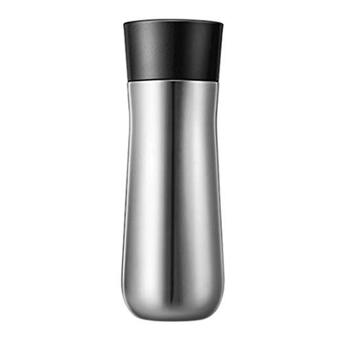 LZL Tazas de Viaje Taza de 12 oz Capa Doble Viaje de Acero Inoxidable con Tapa, Apto for lavavajillas, de Doble Pared, y Sellado al vacío Vaso de café del Viaje Vasos (Color : Silver)