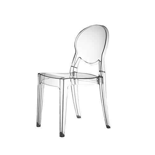 SCAB DESIGN Sedia Modello Igloo Chair in Polipropilene Set 4 Pezzi - Disponibile in 5 Colori E Modello IGNIFUGO (Trasparente, POLICARBONATO)