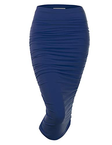 Doublju Womens Slim Fit Ruched Long Pencil Skirt with Plus Size Navy Large