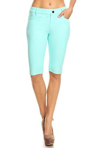 ICONOFLASH Women's Stretchy Bermuda Shorts 5 Pockets Cotton Turquoise Knee Length Leggings Size Small