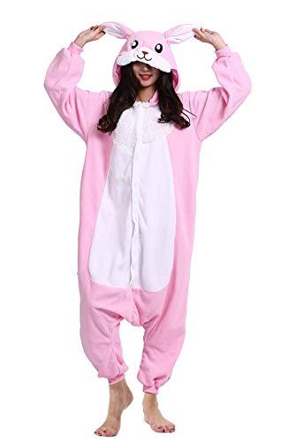 DELEY Unisex Adultos Enterizo de Pijamas Ropa de Dormir Rosa Conejo con Capucha de Cosplay de Anime Carnaval Halloween M