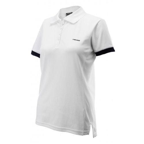 HEAD ITA Damen Poloshirt mit Knöpfen Weiß weiß/schwarz M