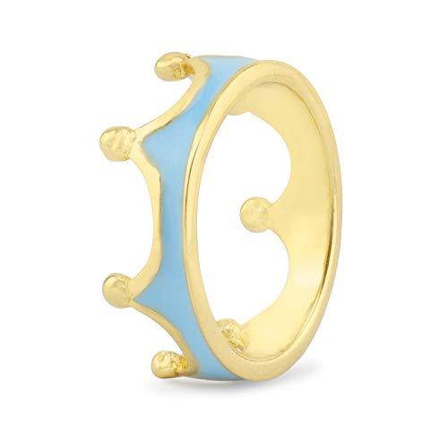 Monkimau Anello a forma di corona, placcato oro 750, a forma di corona, diversi colori, per bambina, ragazza, donna e Ottone, 53 (16.9), colore: oro blu, cod. 8625