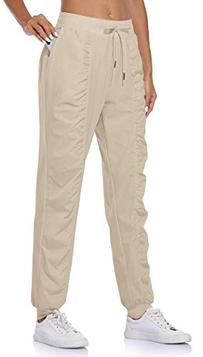 BLEVONH Women's Outdoor Recreation Pants,Ladies Elastic Waistband Gym Casual Joggers Womens Light Breathable Lounging Running Sweatpants Khaki L