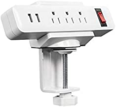 Mount-It! Power Strip Holder Clamp Desk Mount with Included Surge Protector   White Desktop Power Outlet with 2 USB Ports and 3 AC Power Outlets   Adjustable Power Strip Clamp Mount