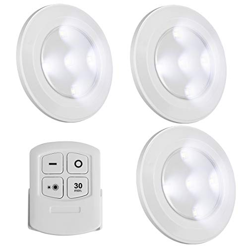 LED Battery Puck Lights Wireless Dimmable Closet Lights with Remote Control, Natural White Night Light,Button Small Touch Lights Under Cabinet Light,Wardrobe Lights