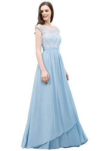 MisShow Ballkleid Hellblau Konfirmationskleider Guenstige Abendkleider Lang