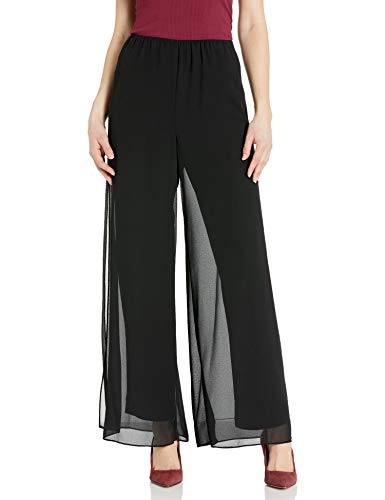 Alex Evenings Women's Straight Leg Dress Pant (Petite Regular Plus Sizes), Black Overlay, XL