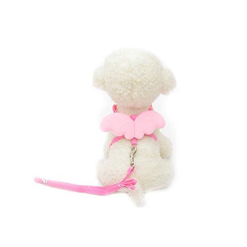Trifycore Haustier-Hundeleine Harness Einstellbare Welpen Kragen führt Set Weste Band für kleine Hunde mit Engelsflügeln Kitten Größe M (Rosa) Kleintierbedarf