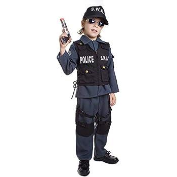 Dress Up America S.W.A.T. Poliziotto Costume per Bambini da Carnevale Halloween Taglia: Medium (8-10 Anni) -M, Multicolore, età, UP327MD