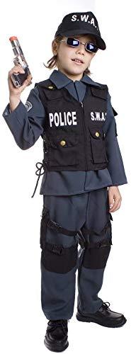 Dress Up America S.W.A.T. Poliziotto UP327MD - Disfraz Infantil de Carnaval para Halloween, Talla M (8-10 años), Multicolor