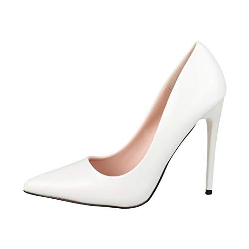 Elara Spitze Damen Pumps Stilettos High Heels Chunkyrayan B0-108 White 38