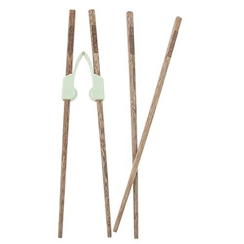 Simple Adults Learning Chopstick Cheater Helper 2pcs Set Adult, Reusable Wooden Auxiliary Training Chopsticks for Elderly and Beginners - Right or Left Handed