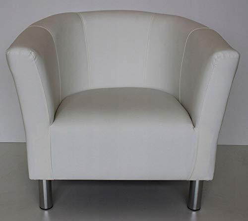 MARTHOME Sillón Club Trio, sillón tapizado, puf, Taburete, sillón de cóctel, sillón de Piel sintética salón, Oficina, Dormitorio, Sala de Espera (Blanco)