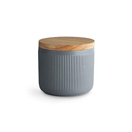 Keramik Vorratsdosen mit Holzdeckel Stripes, Kautschukholz-Deckel, Aufbewahrungsdosen, Frischhaltedosen - 10,1 x 9,3 cm hellgrau