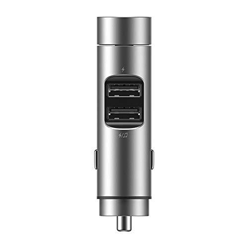 XLNB Bluetooth FM-zender voor auto, autolader audio-adapter en ontvanger handsfree bellen draadloze MP3-autolader met 2 USB-poorten afspeelregelingen, zilver