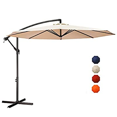 JEAREY 10ft Outdoor Umbrella Backyard Offset Patio Umbrella Hanging Market Garden Umbrellas Beige