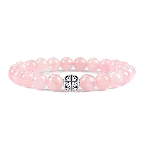 Natural 8mm piedras preciosas MetJakt Curación Crystal Stretch moldeado pulsera brazalete con plata de ley 925 doble felicidad colgante (Cuarzo rosa)