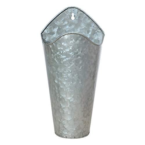PRETYZOOM Vintage French Vase Farmhouse Decorativo Montado en La Pared de Metal Rústico Florero Jar Can Galvanized Tin Decor Vase Country Primitive Jar for Artificial Dry Flower Vase