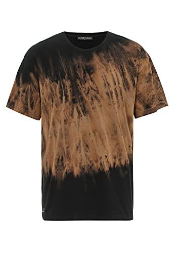T-Shirt für Herren Batik Kurzarm 90er Jahre Rundhals Baumwolle Streetwear Schwarz XXL