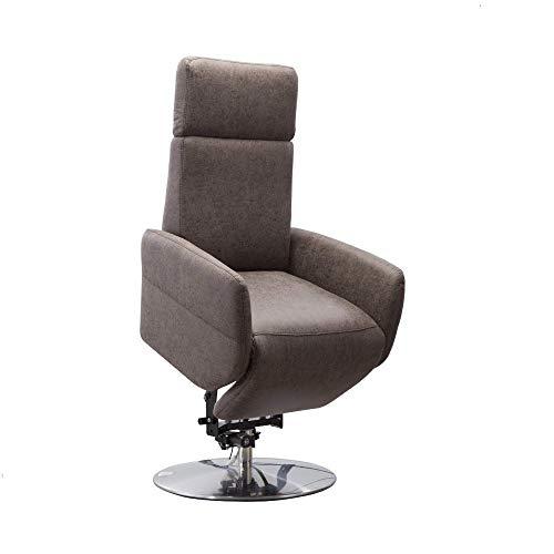 Cavadore TV-Sessel Cobra / Fernsehsessel mit 2 E-Motoren, Akku und Aufstehhilfe / Relaxfunktion, Liegefunktion / Ergonomie L / 71 x 112 x 82 / Lederoptik Dunkelbraun