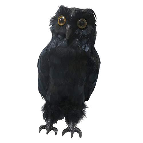F Fityle Búho Ahuyentador de Pájaros, Estatua del Búho con Pluma Artificial...