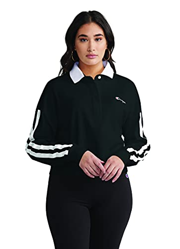 Champion Women's Long Sleeve Rugby Tee with Stripes, Black, X-Small