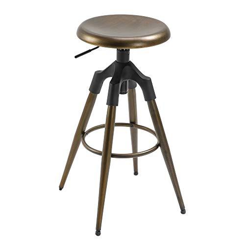 homcom Sgabello da Bar Stile Industriale con Altezza Regolabile, Seduta Girevole e Poggiapiedi, Colore Bronzo, 45x45x74-82cm