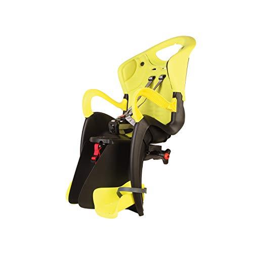 Tiger - Asiento Posterior de Bicicleta - para niños de hasta 22 kg, de 3 a 8 años - Se Fija al Cuadro,Reclinable -Amarillo Alta Visibilidad