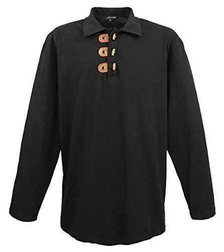 Extra grote lavecchia. Designer poloshirt met lange mouwen zwart LV-604