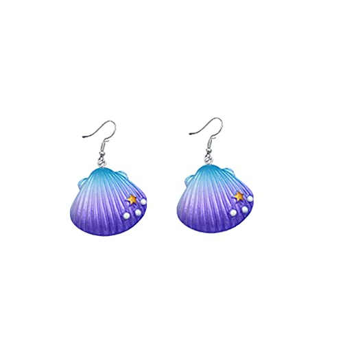 MAJFK - Orecchini da donna in resina, con clip, orecchini alla moda, con conchiglia, orecchini a forma di conchiglia, orecchini a ciondolo, gioielli squisiti da regalo, colore: viola