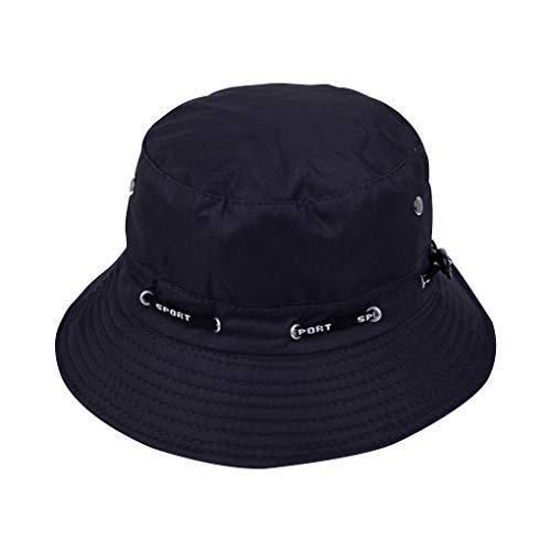 rongweiwangPescador Sombrero al Aire Libre Que acampa yendo de Sol Sombrero de Pescador Pantalla abatible algodón de Las Mujeres Ajustable del Casquillo del Pescador, Azul