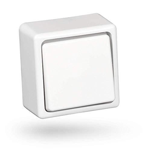 HEITECH Aufputz Wechselschalter in weiß - Schalter für den Innenbereich mit 250V AC & 10A - Lichtschalter für innen, Wippschalter, Kippschalter, Aufputzschalter