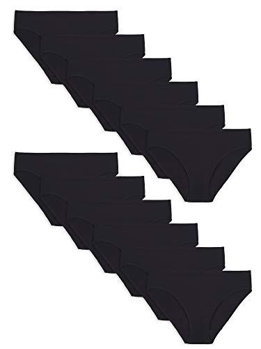 Fruit of the Loom Women's Underwear Cotton Stretch Panties (Regular & Plus Sizes), Bikini-12 Pack-Black, 8