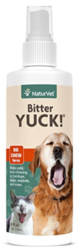 NaturVet – Bitter Yuck - No Chew Spray – Deters Pets from Chewing on Furniture, Paws, Wounds & More – Water Based Formula Does Not Sting or Stain – for Cats & Dogs (8 oz)