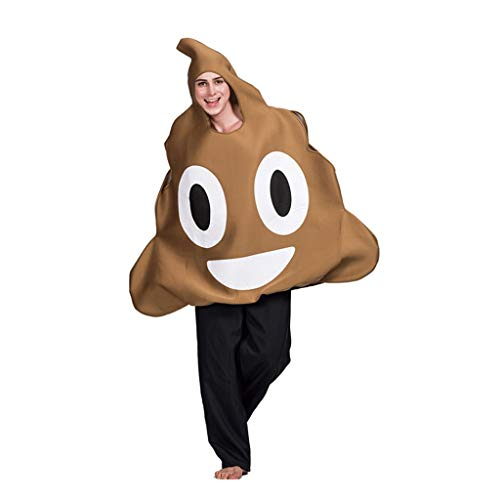 Disfraces de halloween para Nios Caca de vestuario Emoji Halloween, creativo Muchacho Y del partido del traje de la muchacha, Abrigo con cara sonriente, divertido Cosplay Brown suave Emoji Disfraces