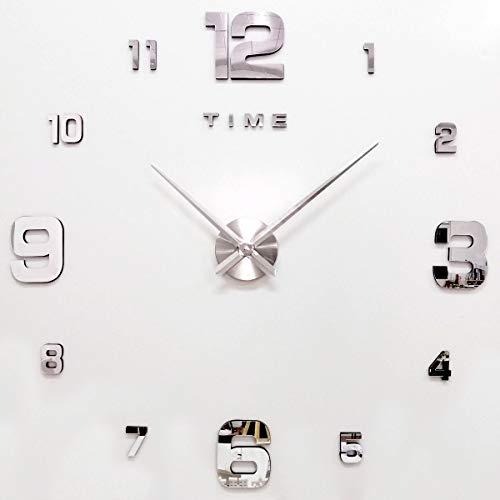 YQHHG Reloj de Pared de Bricolaje,Reloj de Pared Mudo,Reloj de Pared sin Marco,Se Utiliza para la Sala de Estar, Cocina, Dormitorio, Oficina, decoración del hogar, Regalo,Silver