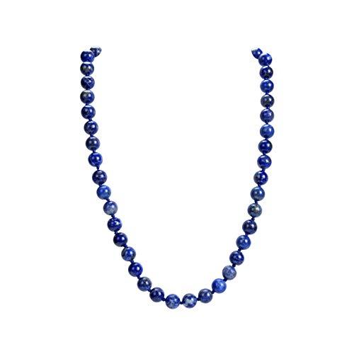 Malahill Collar de Piedras Preciosas Naturales, Hand Knotted Birthstone Collar, 18 Pulgadas de Largo (Lapis 12mm)