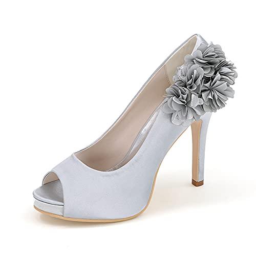 Zapatos De Boda Nupcial para Mujer Zapatos De Salón Cómodos De Satén...