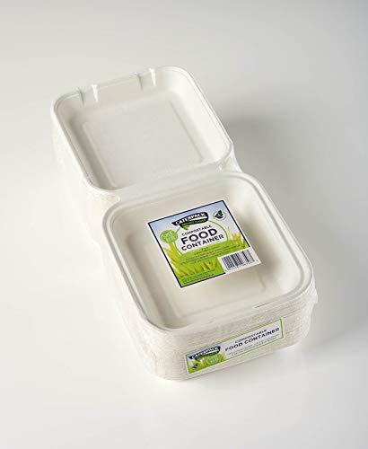 Caterpack Enviro bianco naturale contenitori per alimenti, 20,3x 20,3cm, confezione da 50    100% ecologici biodegradabili   Made from Bagasse (Sugarcane Pulp)   50unità